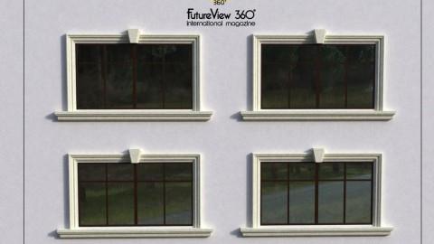 Window frame with Keystone and Windowsill 窗框頂石與窗台