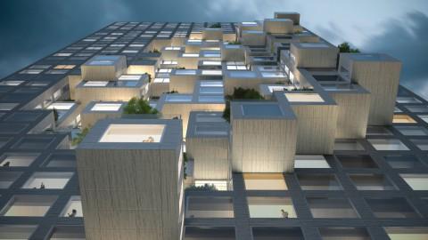 MVRDV designs Albania's tallest building with pixellated facade MVRDV設計了阿爾巴尼亞最高的建築,採用像素化立面