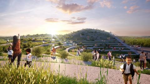 Undulating rooftop farm terraces will top food market designed by MVRDV for Taiwan 起伏的屋頂農場露台將成為MVRDV為台灣設計的頂級食品市場