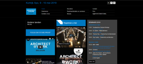 2019 Kortrijk International Architecture and Interior Design Exhibition, ARCHITECT@WORK BELGIUM – KORTIJK 2019比利時科特賴克國際建築和室內設計展覽會ARCHITECT@WORK BELGIUM – KORTIJK