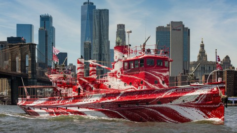 Fireboat With Contemporary Camouflage
