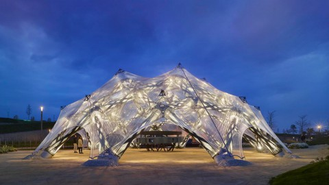 University of Stuttgart creates biomimetic pavilions based on sea urchins and beetle wings 斯圖加特大學創建了基於海膽和甲蟲翅膀的仿生亭