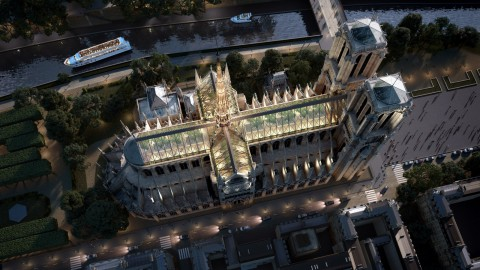 Miysis Studio envisions Notre-Dame with a reconstructed spire and glass roof|Miysis Studio設想Notre-Dame,擁有重建的尖頂和玻璃屋頂