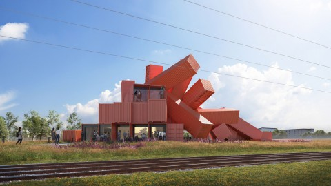 Sculptural shipping-container building  雕塑運輸 – 集裝箱建築