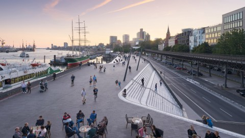 Zaha Hadid Architects carves out sculptural flood protection barrier in Hamburg|Zaha Hadid Architects在漢堡開闢了雕塑防洪屏障