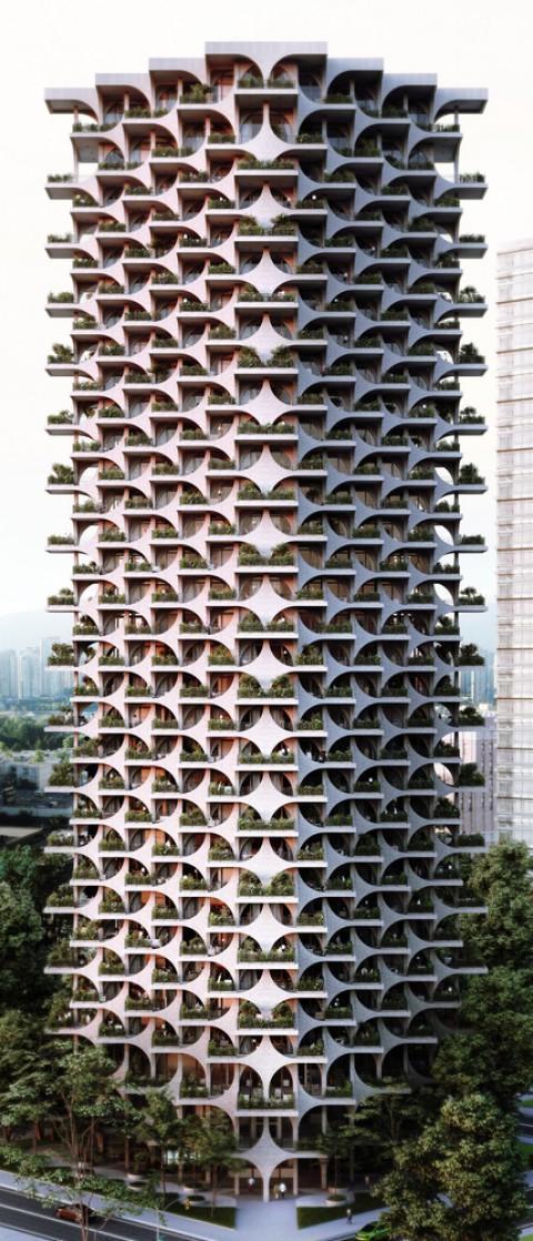 Cascading Brick Arches Feature in Penda's Residential Tower in Tel Aviv 位於特拉維夫Penda住宅大樓的層疊磚拱門
