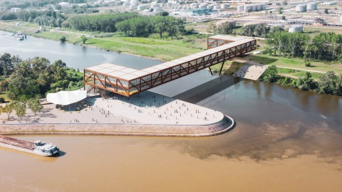 Elbow Shadow bridge in Serbia by ARCVS will double as an office and hotel|ARCVS的塞爾維亞肘影橋將成為辦公室和酒店的兩倍