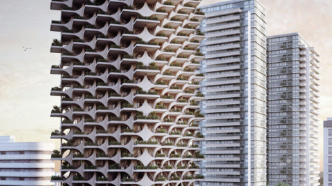 Cascading Brick Arches Feature in Penda's Residential Tower in Tel Aviv 位於特拉維夫Penda住宅大樓的層疊磚拱門