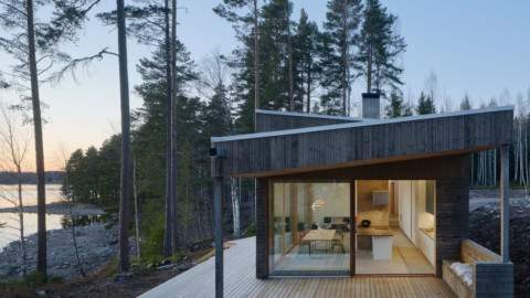 Lakeside house in Sweden is clad with birch slats to match the forest 瑞典的湖濱房屋覆蓋著樺木板條以匹配森林