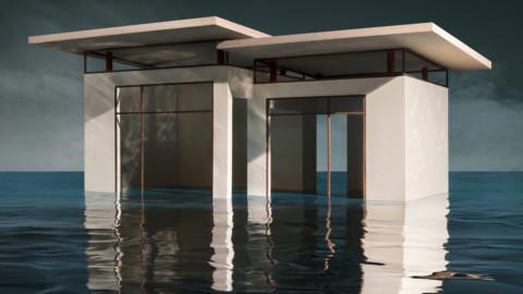 James Casebere's photographs depict fictional refuges emerging from flooded landscapes 詹姆斯·凱斯伯瑞(James Casebere)的照片描繪了從洪水氾濫的景觀中湧出的虛構的避難所