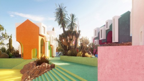 Architectural visualisers imagine rainbow-coloured Sonora Art Village during pandemic|建築可視化師想像大流行期間彩虹色的索諾拉藝術村