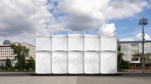 "SNKH creates pop-up cinema within ""inverted Bedouin tent"" in Moscow