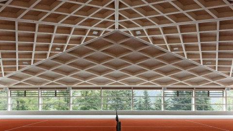 Geometric timber roofs cover Diamond Domes tennis courts in Switzerland|幾何木屋頂覆蓋了瑞士的Diamond Domes網球場