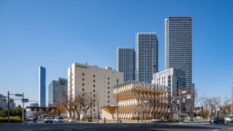 Kengo Kuma builds cross-laminated timber pavilion and park in Tokyo go研吾在東京建造交叉層壓木亭和公園