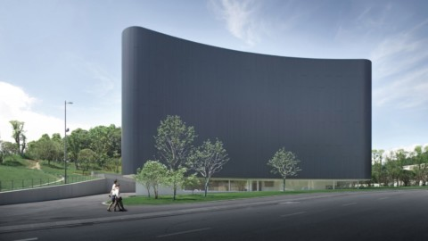 Álvaro Siza cloaks Chinese art museum with black corrugated metal|ÁlvaroSiza用黑色波紋金屬製成的中國美術館披風