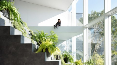 Steel and concrete steps cut through facade of Stairway House by Nendo|鋼和混凝土台階穿過Nendo穿過Stairway House的外牆