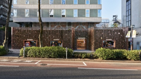 Gridded steel facade evokes bamboo forest at Hermès store in Tokyo|網格的鋼立面讓人聯想到東京愛馬仕專賣店的竹林