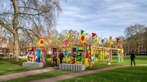 "Morag Myerscough designs bamboo pavilion to bring ""unexpected joy"" to passersby | 莫拉格·邁爾斯庫夫(Morag Myerscough)設計竹亭,為路人帶來""意想不到的歡樂"""